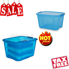 40 Qt Locking Lid Storage Bin Organizer Container Food Clothes Toy Box Tote Dorm