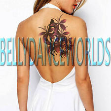 LARGE PURPLE FLOWER TATTOO TEMPORARY STICKER WATERPROOF SCAR COVER COSPLAY ART