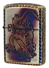 Zippo Armor Case Dragon Karakusa Antique Brass Oxidized 5-side Etching Gold Tank