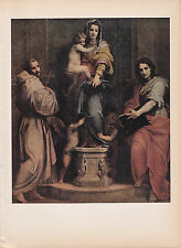 "1939 Vintage ""MADONNA of the HARPIES"" by ANDREA SARTO Color Art Plate Lithograph"