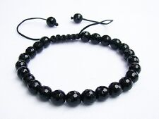 Men's Shamballa bracelet all 8mm round Crystal Black Jet beads