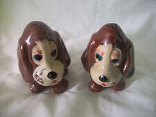 Old Vintage Figural Brown Dog /Puppy Salt & Pepper Shakers  -  Made Japan