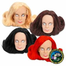 Set of 4 Female Rooted Hair Roto Molded Heads for 8 inch Mego figures