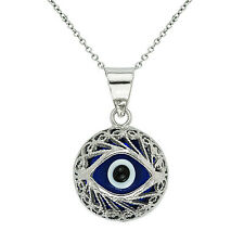 "Evil Eye Ball Round Charm Turkish Nazar Greek Pendant Necklace Silver 18"" Chain"