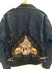 Harley Davidson Motorcycle Jean & Leather Jacket Wizard Club Medium M Womens