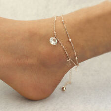 Sexy Gold Double Chain Anklet Bracelet Ankle Foot Jewelry Barefoot Beach Anklet