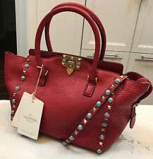 Valentino Turquoise Rockstud  Small Red Leather Top Handle Bag New With Tags