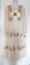 Vintage 60s cream white gauze Indian festival boho wedding dress metallic floral