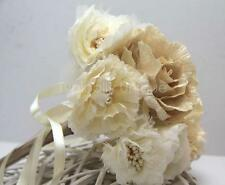 WINTER VINTAGE ROMANTIC WEDDING BOUQUET CHAMPAGNE IVORY FABRIC FLOWERS PEARLS