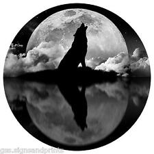 550mm WOLF AND MOON SPARE WHEEL COVER STICKER 4X4 LAND ROVER GREY BLACK