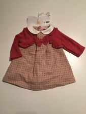 Mayoral Baby Girl Blackcurrent Winter Dress With Faux Cardigan 1-2 Months BNWT