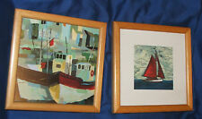 2 x  PICTURES BOATS in wooden frames, 18 cm x 18 cm