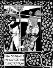 Aubrey Beardsley cómo Morgan Le Fay dio un escudo que Sir Tristram A4 impresión
