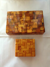 WOW 2 MEGA RARE AMBER YOLK BOXES BALTIC 1930S GERMAN MADE KONIGSBERG FACTORY