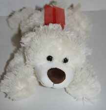 "Dan Dee Stuffed Animal Bear Cream Ivory Red Bow Plush 11"" Soft Toy Laying Tummy"