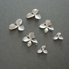Orchid Flowers Connector Charm Platinum Plated - 6pcs.