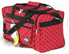 """20"""" 40LB. CAP RED WITH BLACK POLKA DOTS DUFFLE BAG/ GYM BAG / LUGGAGE/ CARRY ON"""