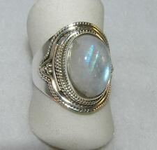 Rainbow Moonstone Large Oval Balinese Ring Sterling Silver Size 7.5