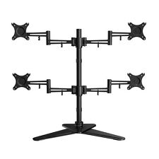 """Quad Monitor Free Standing Desk Mount  four LCD Arm Stand upto 19 22 24 27 28"""""""