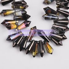 10pcs 20mm Long Cone Faceted Crystal Glass Spacer Loose Beads DIY Jewelry Making