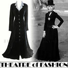 VINTAGE LAURA ASHLEY COAT DRESS VELVET SILK VICTORIAN RIDING 30s NOIR MISTRESS
