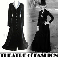 VINTAGE LAURA ASHLEY SILK VELVET COAT DRESS VICTORIAN RIDING 30s NOIR MISTRESS