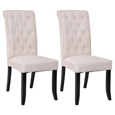 Set of 2 Dining Chairs Fabric Upholstered Tufted Armless Accent Home Kitchen New