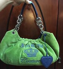 Juicy Couture Green Velour & Blue Leather Hobo Purse Handbag
