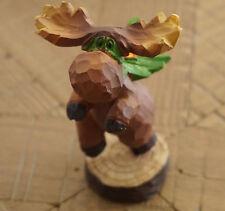SUPER MOOSE SUPERHERO & CAPE Faux Wood Carved Figurine Log Cabin Lodge Decor NEW
