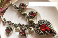 Vintage Glamorous women Angel Wing Red Heart Rhinestone Charms Chain Bracelet