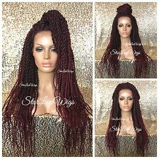Long Twisted Lace Front Wig Burgundy Ombre Senegalese Havana Marley Box Braided