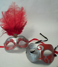 Red Silver Couples Man Woman Masquerade Mardi Gras Masks Male Female Set