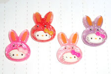 Kawaii Cute Mixed Colour Plastic Hello Kitty Charms Cabochons x 4 Kitsch 80s