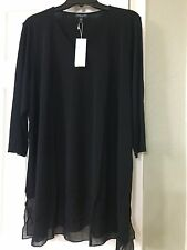 3X NEW Eileen Fisher Black Solid V-Neck Stretch Silk Jersey 3/4 Sleeves Top
