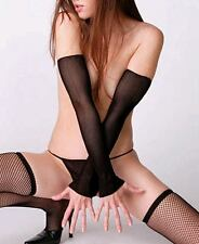 Black Extra Long Fishnet Fingerless Arm Warmer Gloves Sexy Lingerie P440