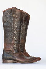 Frye Melissa Button distressed crackled leather riding boots 7.5 B New Heels!