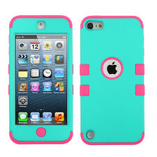 iPod Touch 5 5th Gen Rubber IMPACT TUFF HYBRID Case Skin Cover Teal Hot Pink