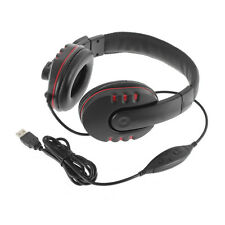 Leather USB Wired Stereo Micphone Headphone Mic Headset for Sony PS3 PS4 PC 7@