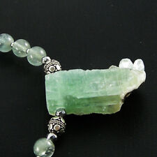 RARE!! STUNNING NATURAL AQUA GREEN AQUAMARINE DRUZY PENDANT BEADS Necklace