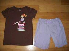Gymboree Girls Size 12 SUNFLOWER SMILES Outfit - Girl w/ books Tee Top & Shorts