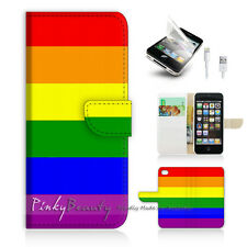 iPhone 5 5S Print Flip Wallet Case Cover! Gay Pride Rainbow Pattern P0072