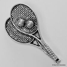 Tennis Racket & Ball Pewter Brooch Pin - British Artisan Signed - Racquet Court