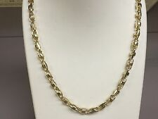14k Solid Yellow Gold Anchor Bullet chain necklace 6.5 MM 40 grams  18""
