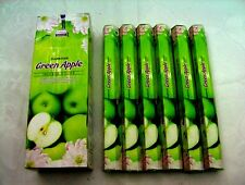 DARSHAN INCENSE STICKS 6 HEXAGONALS BOXES = 120 STICKS GREEN APPLE SCENT