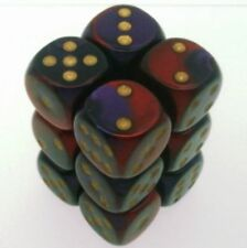 12 d6 Dice Set Chessex GEMINI PURPLE RED gold 26626 VIOLA ROSSO oro Dadi Dado