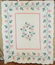 WELL QUILTED Vintage 30's Grapevine Applique Antique Quilt ~GREAT BORDER!