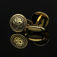 Stainless Steel Golden Round Vintage Men's Wedding Gift Dragon Enamel Cuff Links