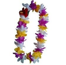 TWO Hawaii Silk Flower Lei Luau Party Hula Wedding PURPLE/YELLOW/WHITE QTY 2 LEI