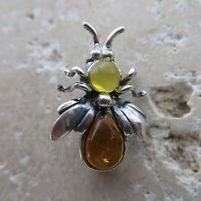 Genuine BALTIC AMBER Fly Brooch STERLING SILVER / Ambre Baltique, Argent #0014