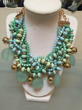 NWOT Blue And Green Beaded Pom Pom Twist Chain Statement Necklace Anthropologie